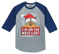 Paw Patrol Chase Christmas Nice List 3/4 Sleeve Baseball Jersey Toddler Shirt