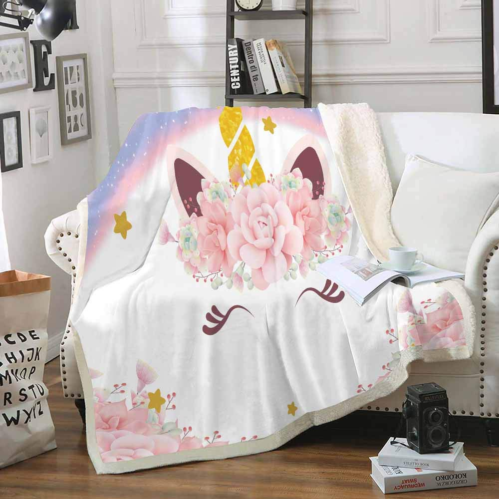 Homefit Cartoon Blanket Sherpa Blanket Cartoon Unicorn Throws for Kids (60, 50x60 inch)
