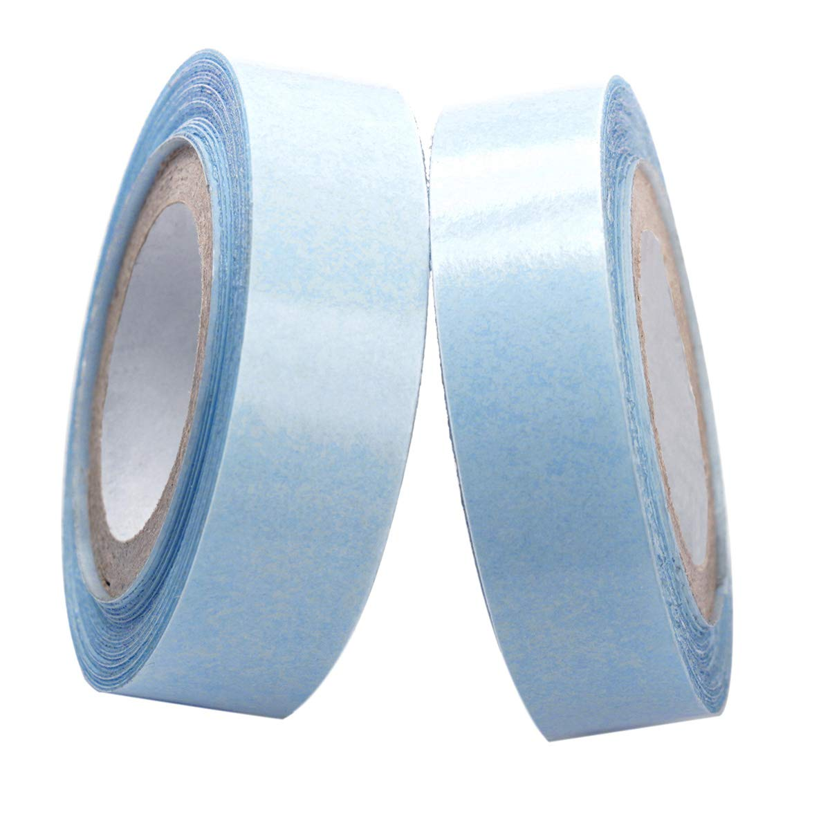 0.85cm x 3 Yards Hair Replacement Strong Adhesive Lace Front Wig Hair Support Tape, Double-Sided Water-Proof Invisible Tape 2 Rolls/Pack For Wigs/Toupees/Skin Weft Hair Extensions-Blue Color