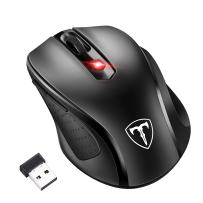 Wireless Laptop Mouse, VicTsing 2400DPI Computer Mouse Mini PC Mouse with 2.4G, 6 Buttons 5 Adjustable DPI Levels - Optical Mice Gmaing Mouse for Windows, Mac and Linux (Black)