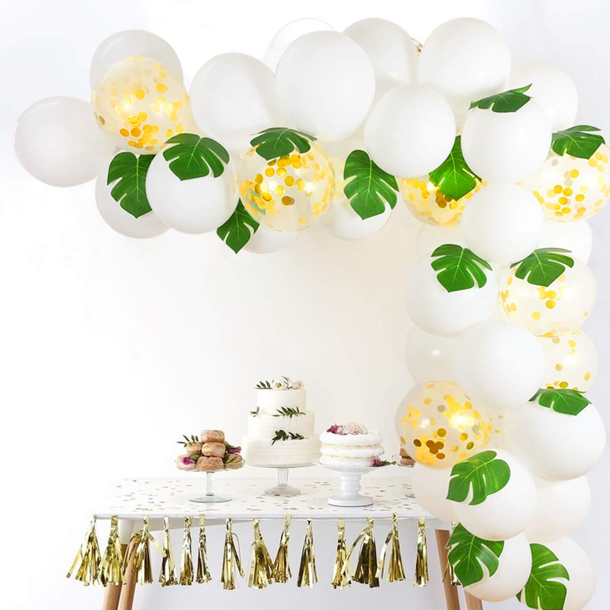 White Gold Confetti Balloons Arch, 12 Inch 40pcs Latex Balloons with 12pcs Palm Leaves 16 FT Balloon Strip Set for Baby Shower Bachelorette Party Supplies Backdrop Wedding Decorations