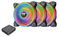 Thermaltake Riing Quad 140mm 16.8 Million RGB Color (Alexa, Razer Chroma) Software Enabled 4 Light Rings 54 Addressable LED 9 Blades Hydraulic Bearing Case/Radiator Fan, 3 Pack, CL-F089-PL14SW-B