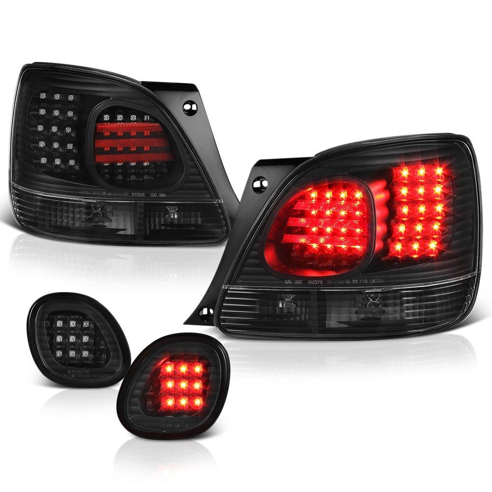 [For 1998-2005 Lexus GS300 GS400 GS430 & Toyota Aristo] VIPMOTOZ Premium LED Tail Light Lamp - Black Housing, Driver and Passenger Side