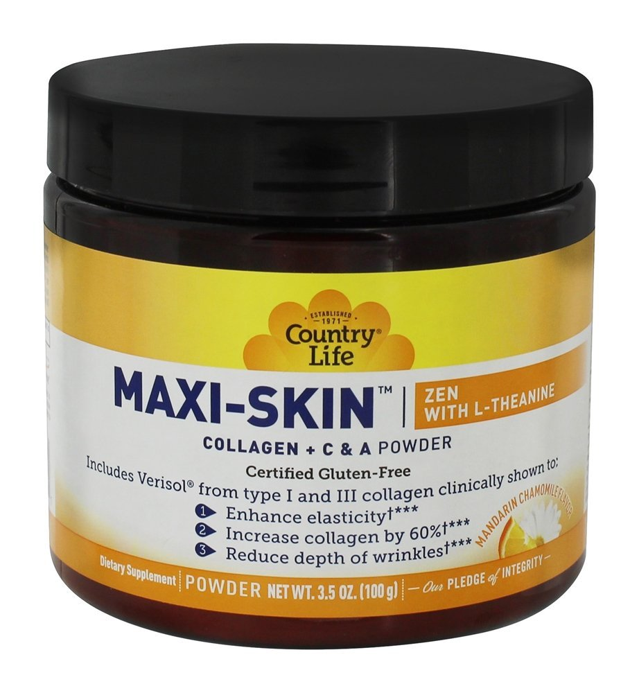 Maxi-Skin Zen Collagen Powder with L-Theanine, Anti-Aging Formula for Youthful Skin, Healthy Hair & Nails, 3.5oz (100g) Mandarin Orange and Chamomile Flavor