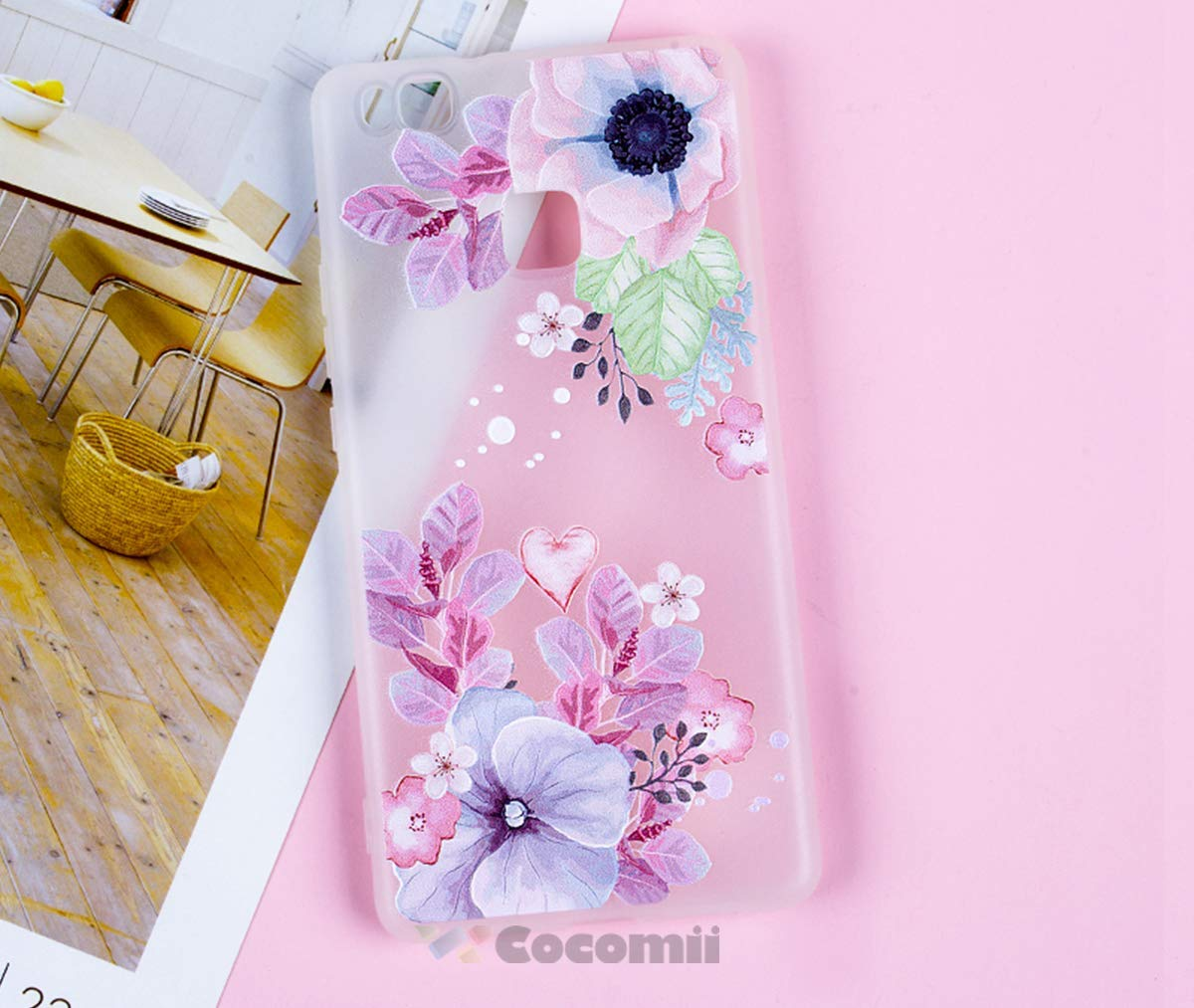 Cocomii 3D Flower Translucent Huawei P9 lite/Honor 8 Smart Case, Slim Thin Matte Soft TPU Silicone Rubber Gel 3D Silicone Floral Bumper Cover for Huawei P9 lite/Honor 8 Smart (Watercolor Flowers)