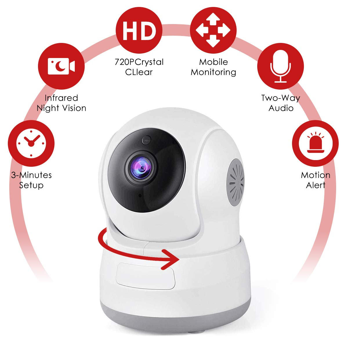 Wireless Security Camera, 720P HD Home WiFi Wireless Security Surveillance IP Camera with Motion Detection Pan/Tilt, 2 Way Audio and Night Vision Baby Monitor, Nanny Cam(White)