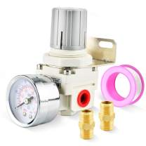 Tailonz Pneumatic 1/4 Inch NPT Mini Pressure Regulator for Compressed Air Systems AR2000,Adjust 0 to 145 Psi