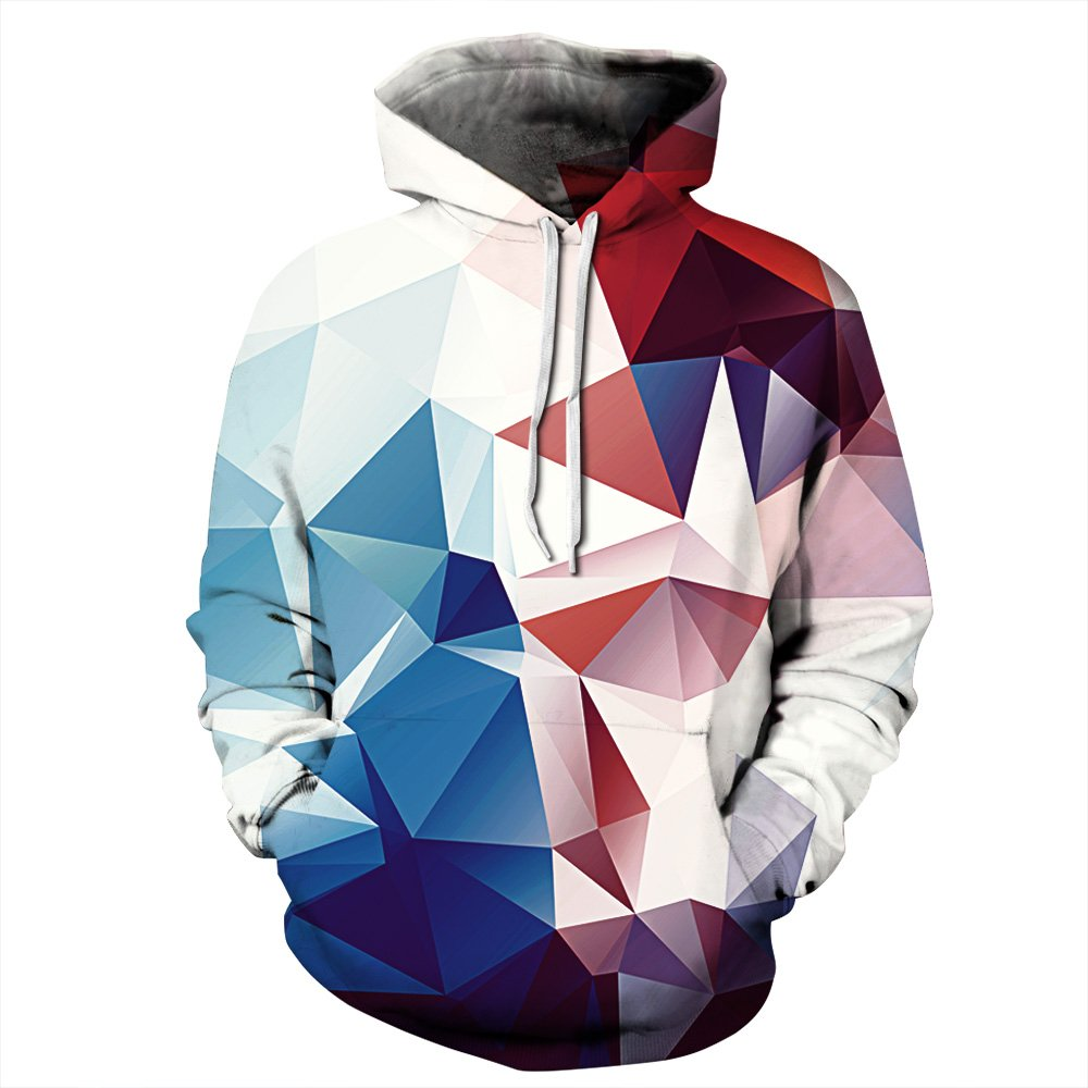 NEWCOSPLAY Unisex Novelty Hooded Sweatshirts 3D Printed Hoodies Colorful Pattern (L/XL, Pink)