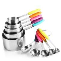 zanmini Stainless Steel Measuring Cups and Spoons Set of 10, 5 Measuring Cups and 5 Measuring Spoons with Colored Silicone Handles, Kitchen Gadgets Tool for Cooking & Baking