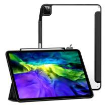 XUNDD Case for iPad Pro 12.9'' 4th Gen 2020/2018 with Pencil Holder, Ultra Slim Translucent Back, Shockproof Trifold Stand+Auto Sleep/Wake Smart Cover [Support Apple Pencil 2 Pairing/Charging] - Black
