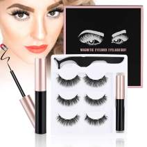 ToyRis Magnetic Eyelashes with Eyeliner Kit - 3 Pairs 10 Pairs Waterproof Reusable 3D 5D Natural Look False Lashes with Tweezers No Glue Needed (3 Pairs (Style 05))
