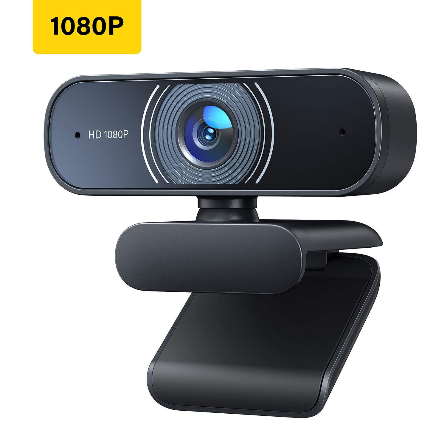 1080P Webcam with Microphone, Full HD USB Computer Camera Streaming Webcam with 80ºWide-Angle View