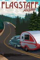 Flagstaff, Arizona, Retro Camper on Road 80436 (12x18 SIGNED Print Master Art Print, Wall Decor Poster)