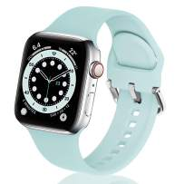 eCamframe Bands Compatible with Apple Watch Band 40mm 38mm 42mm 44mm, Soft Silicone Sport Replacement Wristband Compatible with iWatch Series 6 5 4 3 2 1 & SE Men Women