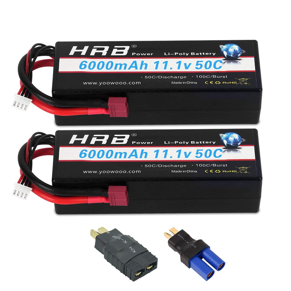 HRB 2PCS 3S Lipo Battery 11.1V 6000mAh 50C Hard Case RC Battery with Deans TRX EC5 Connector Plug for RC 1/8 1/10 Scale Vehicles Car,Trucks,Boats