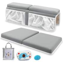 Bath Kneeler and Elbow Rest Set Baby Bath Kneeling Pad, Thick Non-Slip Bathing Kneeling Mat Cushion Quick Drying Bathtub Knee Saver with Arm Support and Pockets for Bathroom Bathing time Comfort, Gray