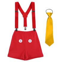 Baby Boy's 1st/2nd/3rd Birthday Cake Smash Outfits Y Back Suspenders Bloomers Bowtie Cute Mouse Ears Costume