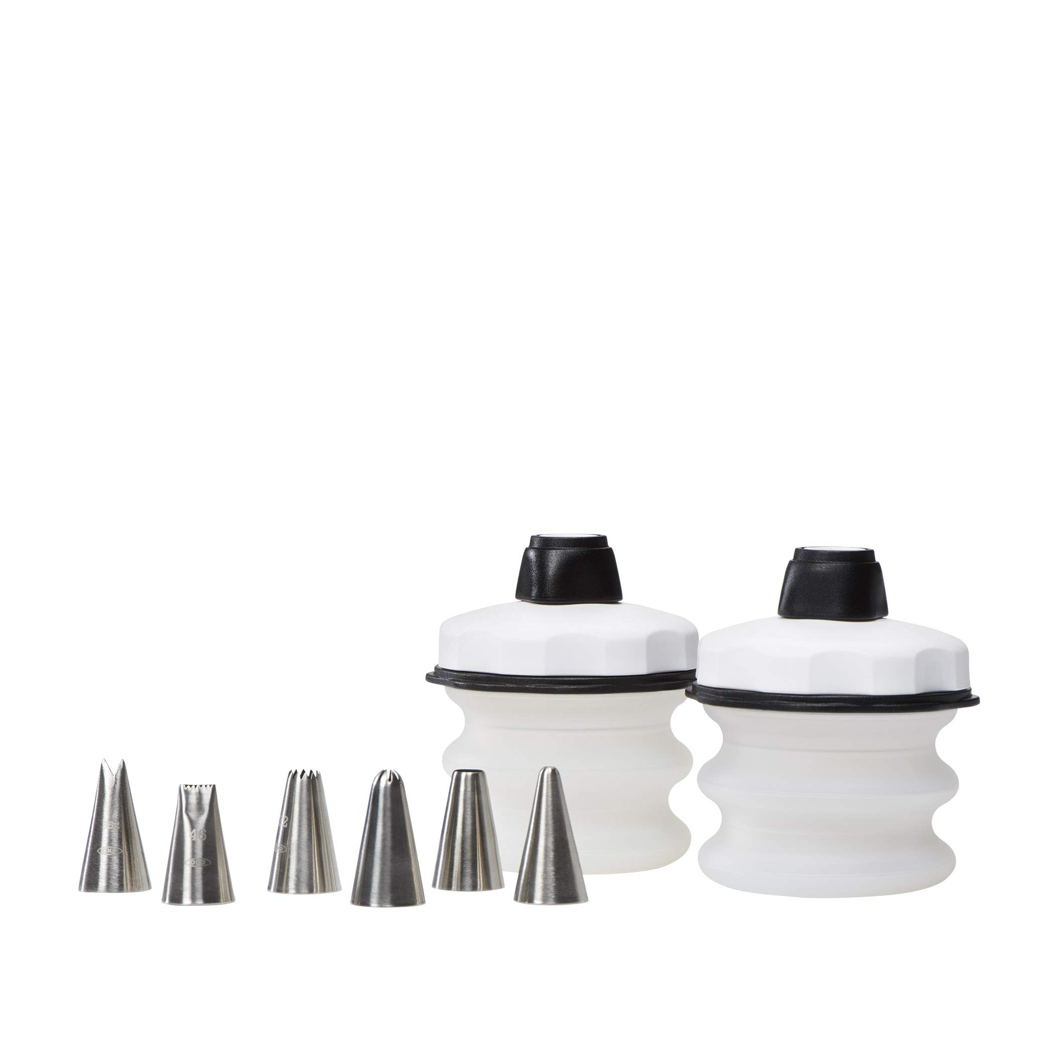 OXO 11132900 Good Grips Baker's 4-Piece Silicone Decorating Bottle Kit, Clear,Black