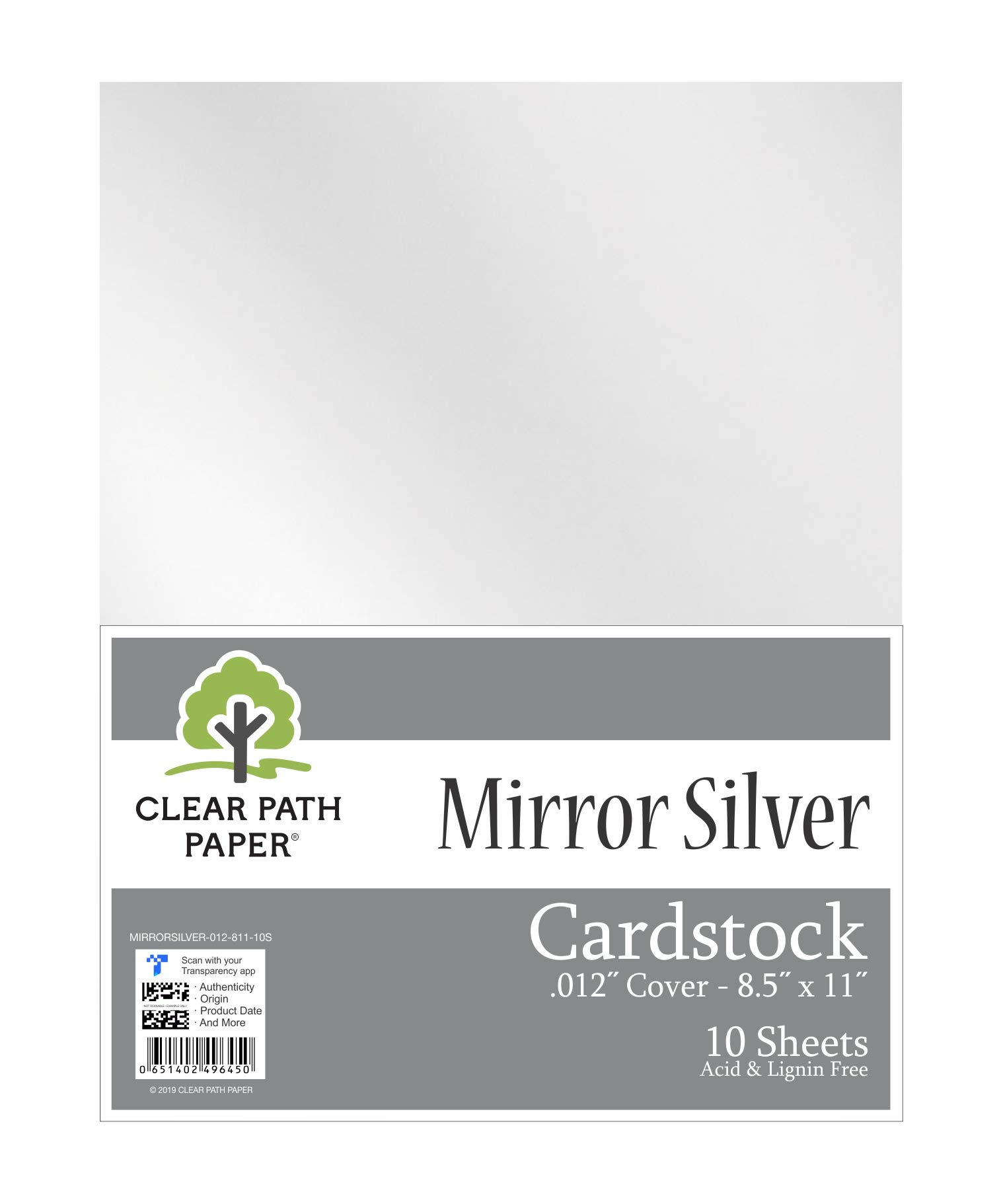 "Mirror Metallic Silver Cardstock - 8.5 x 11 inch - .012"" Thick - 10 Sheets"