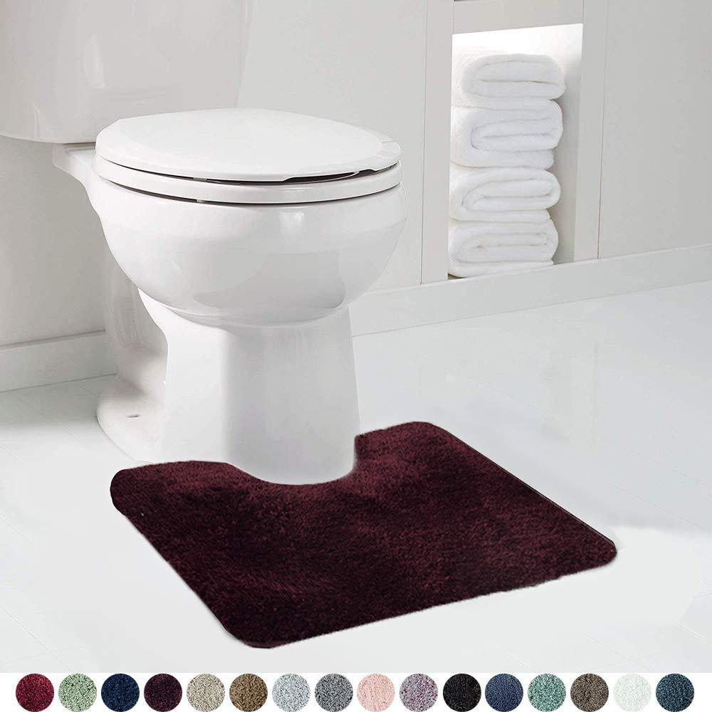 Walensee Bathroom Contour Rug (20x24, Merlot) Non Slip Bath Mat for Bathroom Water Absorbent Soft Microfiber Shaggy Bathroom Mat Machine Washable Bath Rug for Bathroom U Shape Toilet Rug