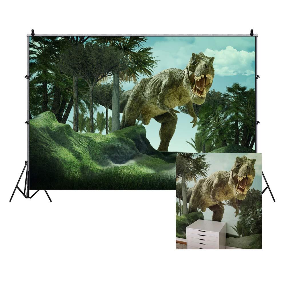 Baocicco 7x5ft Dinosaur Backdrop Boy Birthday Backdrop Tyrannosaurus Backdrop Jurassic Mesozoic Cretaceous Howling Tyrannosaurus Photography Background Baby Boy Children Birthday Photo Shooting Props