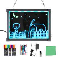 "MBQMBSS LED Message Writing Board 16"" X 12"" Illuminated Light Erase Board Acrylic Led Message Board Outdoor Erasable Lighted Letter Board Menu Sign Board with Remote Control&8 Colors Chalk Marker"