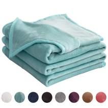"LIANLAM King Size Fleece Blanket Lightweight Super Soft and All Season Warm Fuzzy Plush Cozy Luxury Bed Blankets Microfiber (Turquoise, 104""x90"")"
