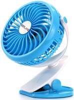 Berlato battery-powered USB rechargeable clip fan with 2600mAh battery, small trolley car seat fan (Blue)