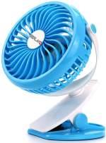 Berlato battery-powered USB rechargeable clip fan with 2600mAh battery, small trolley car seat fan (Blue)
