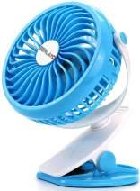 Berlato battery-powered USB rechargeable fan with 2600mAh battery, small trolley car seat fan (Blue)