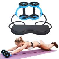SZCQ Men Ab Roller Wheel with Resistance Band Women Flex Abdominal Trainers Double Rollers Home Gym Multi-Functional Exercise Knee mat Body Fitness Equipment Core Ab Workout