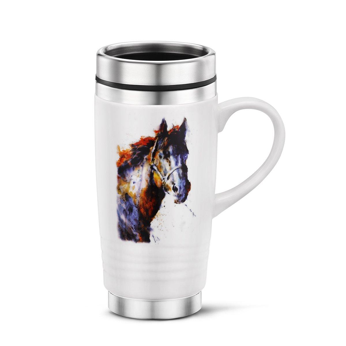 Poncho Horse Watercolor Purple On White 16 Ounce Glossy Stoneware Travel Mug