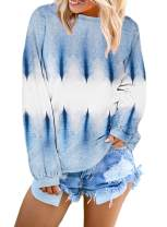 Silindashop Women's Lightweight Long Sleeve Tie Dye Hoodie Pullover Sweatshirts