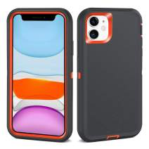 NIAFEYA iPhone 11 Case Defender Heavy Duty Rugged Cases Full Body Protective Cover Shockproof Compatible for iPhone 11 2019 6.1 inch-Carbon Grey Orange