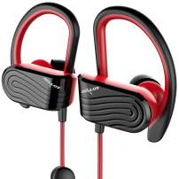 Bluetooth Headphones, Wireless Earbuds Waterproof Sport Headphones w/Mic,Bluetooth 5.0, HiFi Stereo Sweatproof Bluetooth Earbuds for Running Gym Workout 8 Hour Noise Cancelling Headsets(Black-red)