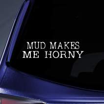 "Bargain Max Decals - MUD Makes ME Horny Sticker Decal Notebook Car Laptop 8"" (White)"