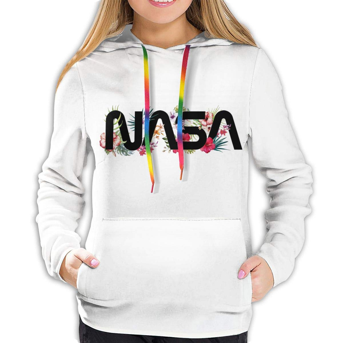 URhows NASA Logo Hoodie for Women Sweatshirt with Pocket Space Pullover