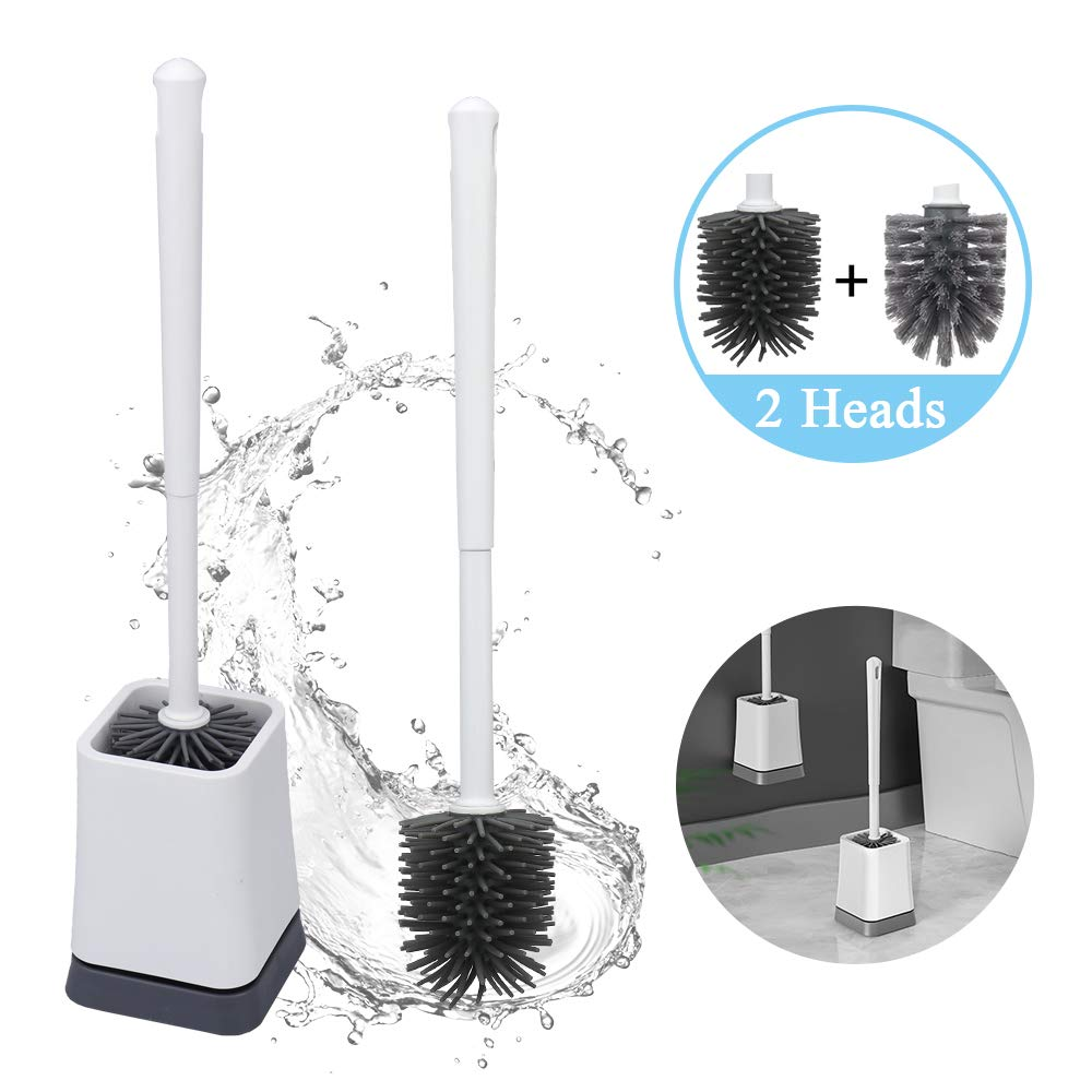 CASELAND Toilet Brush and Holder, Bathroom Toilet Bowl Cleaner Brush Set, with 2 Replaceable Brush Heads (Anti-Rust PP Handle + TPR Soft Bristle) Wall Mountable/Floor Standing