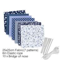 JuneJour 7Pcs Cotton Craft Fabric Squares Sheets+6m Elastic Bands for Sewing+10pcs Nose Bridges, 9.5''x9.5'' Printed Quilting Fabric Bundle Patchwork DIY Handmade Sewing Quilting Scrapbooking