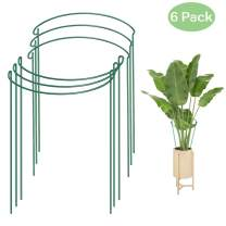 "Plant Support Stakes,6 Pack Metal Garden Plant Stakes,Green Half Round Plant Support Rings, 7.8"" Wide x 13.7"" High Garden Border Supports,Steel Plant Cages Support Rings for Tomato,Hydrangea,Rose,Vine"