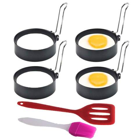 Egg Ring, Round Egg Pancake Maker Mold, Stainless Steel Non Stick Metal Circle Shaper Mold, Kitchen Cooking Tool for Fried Egg McMuffin Sandwiches or Shaping Eggs - Egg Maker Molds