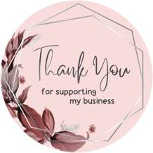 600 Business Thank You Stickers in roll | Baby Pink Flower Bunch Design with Silver Foil | Highly Recommended for Small Business Owners
