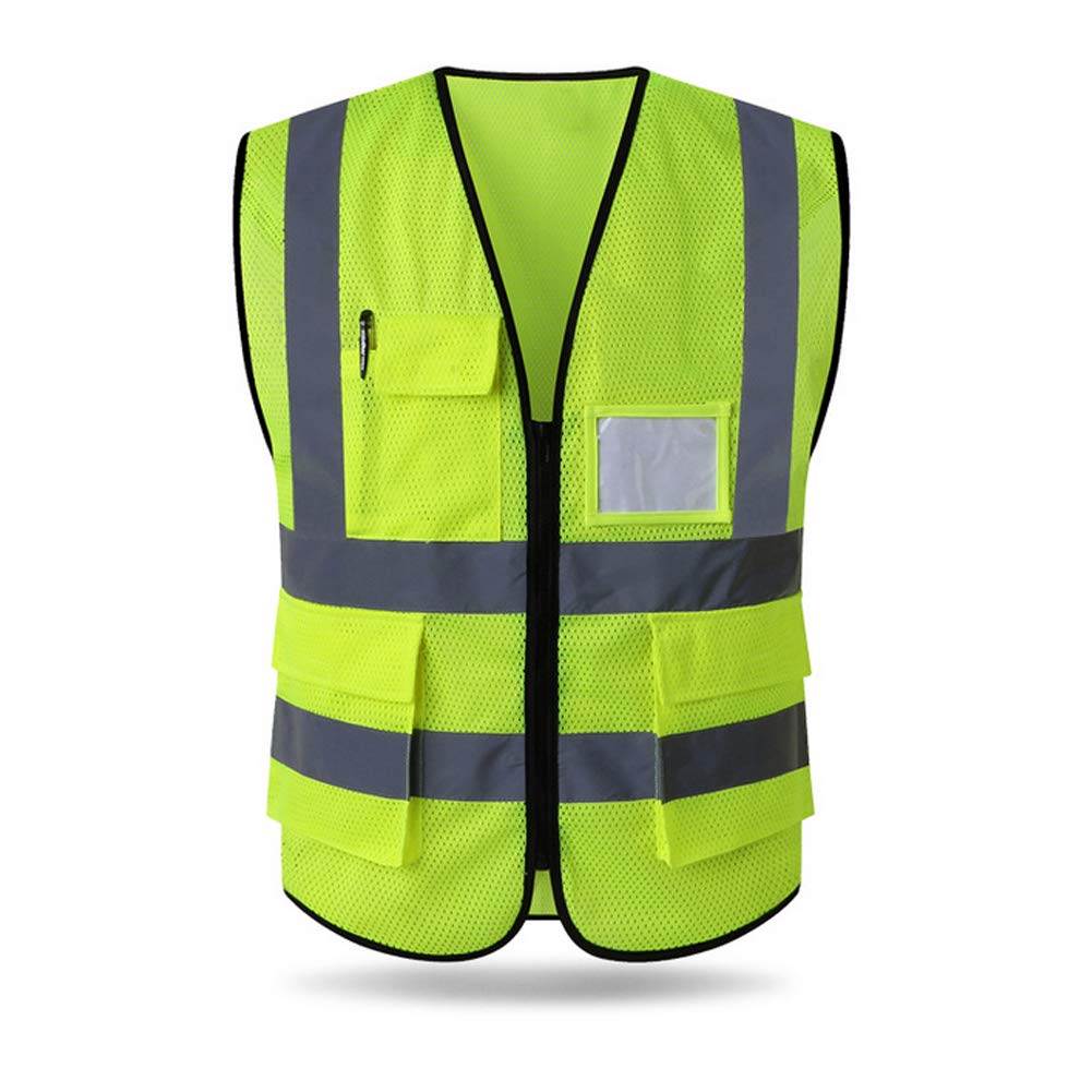 HYCOPROT Reflective Safety Vest, High Visibility Mesh Breathable Workwear with Pockets and Zipper, Meets ANSI/ISEA Standards (M, Yellow)
