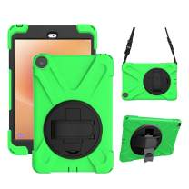 Gzerma Protective Case for Fire HD 8 8th Generation, Childproof Shockproof Rugged Cover with Holder, Handle Band, Shoulder Strap for Amazon Fire HD8 Kids Edition Tablet 8 inch HD Display 2018, Green