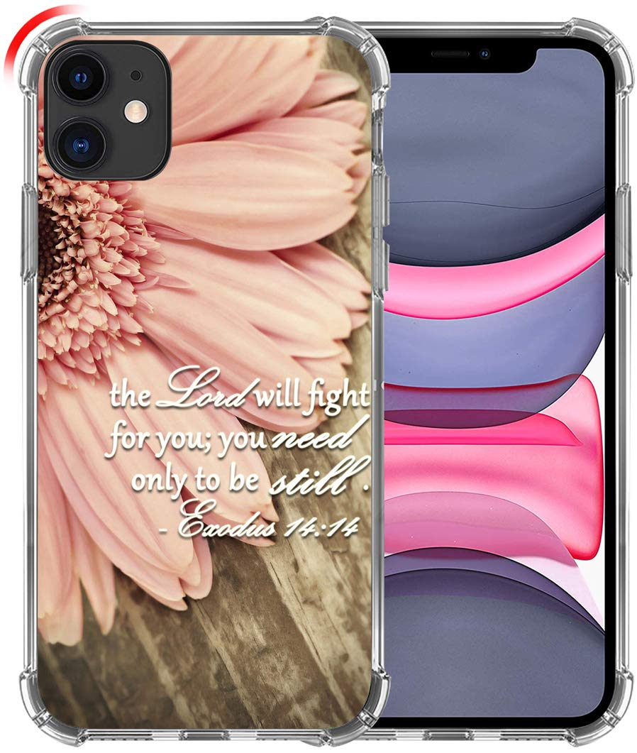 Case for iPhone 11, Hungo Soft TPU Cover Clear Heavy Duty Protection Wireless Charging Compatible for iPhone 11 Christian Sayings Bible Verses Theme Exodus 14:14