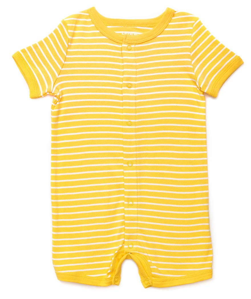 Leveret Baby Romper Boys Girls Short Sleeve Stretchie Pajamas 100% Cotton (3-24 Months) Variety of Colors