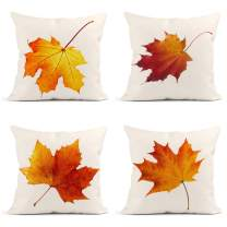 Britimes Throw Pillow Covers Fall Home Decor Set of 4 Pillow Cases Decorative 18 x 18 Inches Outdoor Cushion Couch Sofa Pillowcases Autumn Maple Leaf