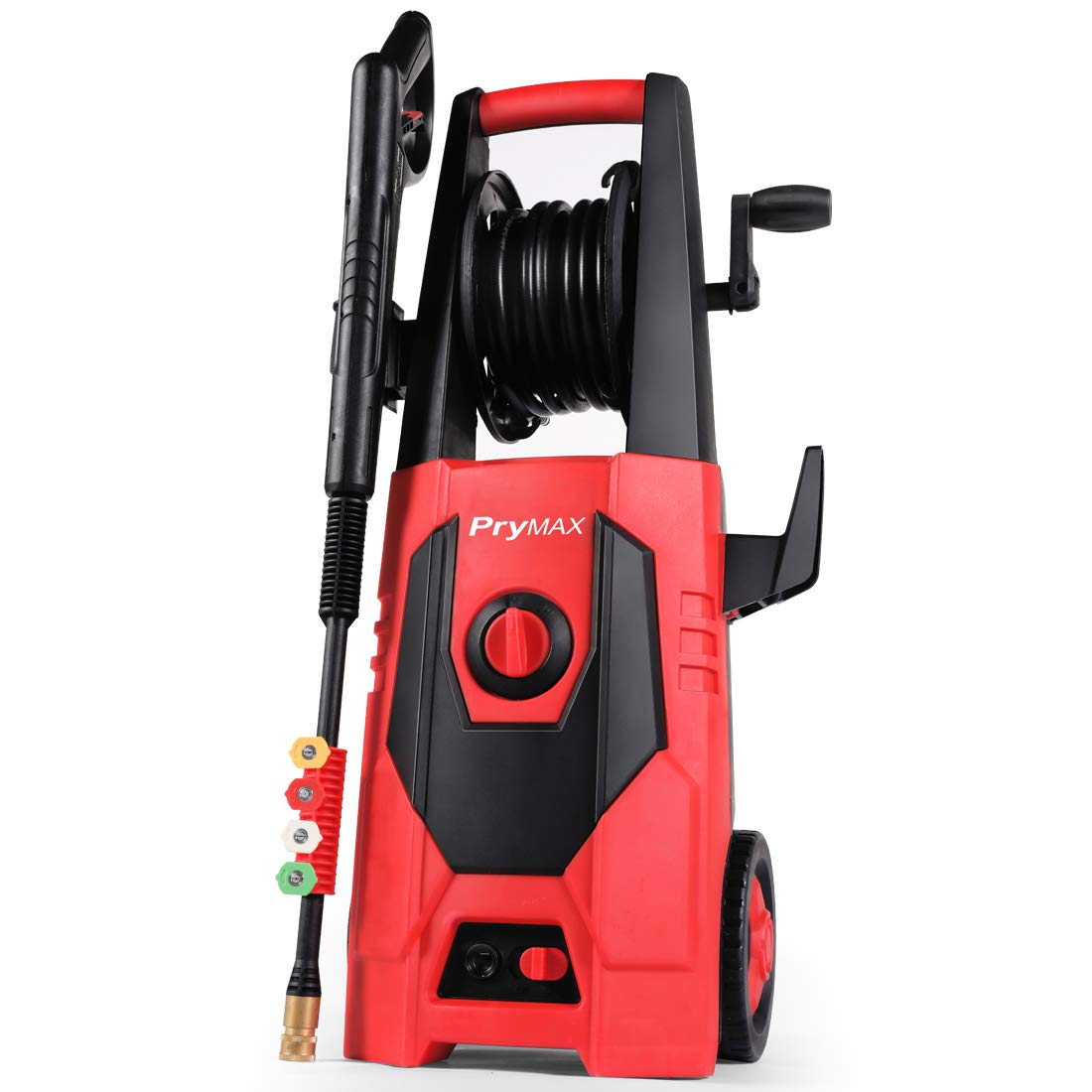 PRYMAX Electric Power Washer 3000 PSI 1.85 GPM Car Electric Pressure Washer with Hose Reel and Interchangeable Nozzles, Red