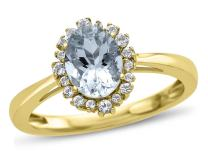 Finejewelers Solid 10k Yellow Gold 8x6mm Oval Center Stone with White Topaz accent stones Halo Ring