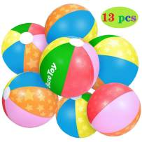 iBaseToy Classic Rainbow Beach Ball (13 PCS), Star Pattern Design Best Summer Toy for Kids Girls Boys Toddlers | Ideal Inflatable Ball for Summer Water Fun, Pool Garden and Birthday Parties